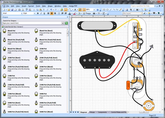 Guitar Electronics/Pickup Shapes for Microsoft Visio | johnvisiomvp